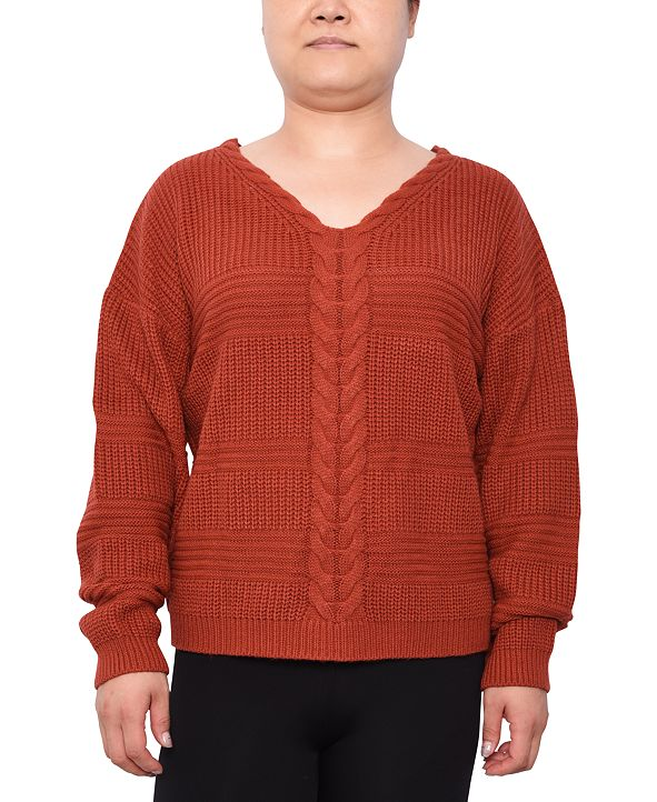 Derek Heart Trendy Plus Size Lace-Up Mixed-Stitch Sweater