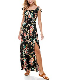 Juniors' Short-Sleeve Floral Maxi Dress