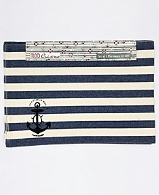 "Nautical Stripe Stamp Printed Placemat, 13"" x 19"", Set of 4"