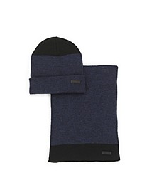 Men's 2-Piece Marled Knit Scarf and Beanie Set