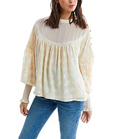 Women's Button Detail Jacquard Blouse