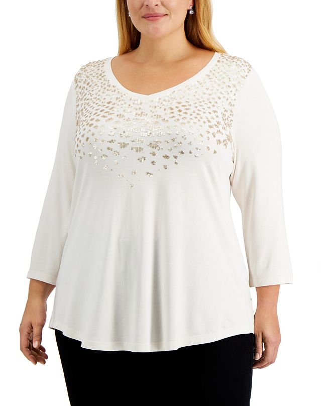 JM Collection Plus Size Embellished Top, Created for Macy's