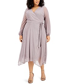 Plus Size Metallic Fit & Flare Dress, Created for Macy's
