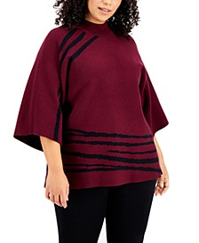 Plus Size Printed Mock-Neck Kimono Sweater, Created for Macy's