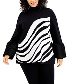 Plus Size Printed Faux-Fur-Cuff Sweater, Created for Macy's