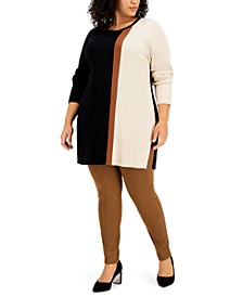 Plus Size Colorblocked Ribbed Tunic Top, Created for Macy's