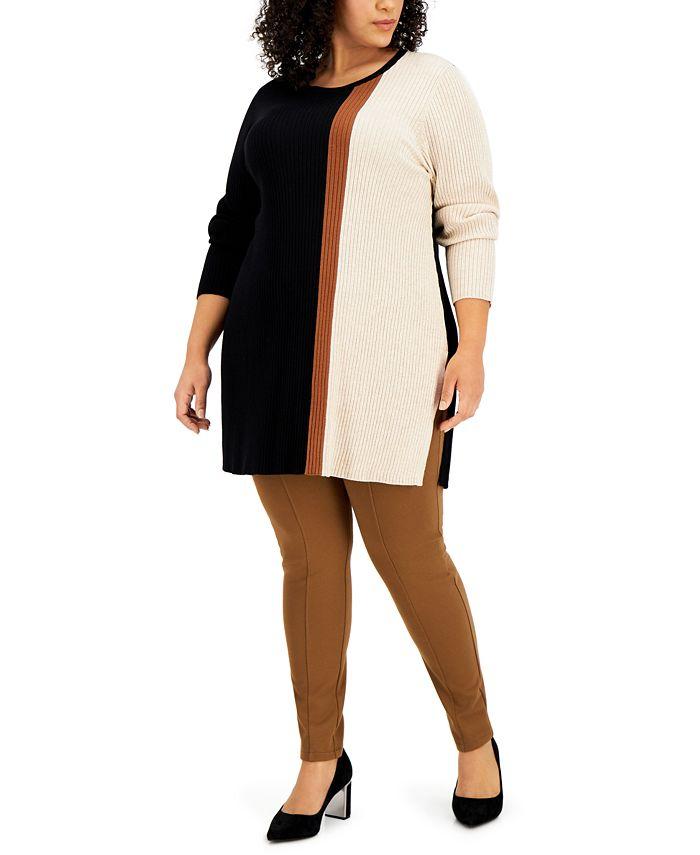 Alfani - Plus Size Colorblocked Ribbed Tunic Top