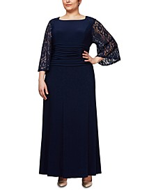 Plus Size Bell-Sleeve Gown