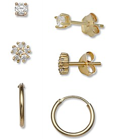 3-Pc. Set Cubic Zirconia Stud & Hoop Earrings in 18k Gold-Plated Sterling Silver, Created for Macy's