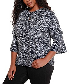 Black Label Women's Plus Size Ruffle Neck with Bell Sleeve Top