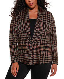Belldini Black Label Women's Plus Size Houndstooth Sweater Blazer