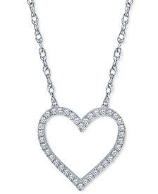 "Diamond Heart 18"" Pendant Necklace (1/2 ct. t.w.) in Sterling Silver"