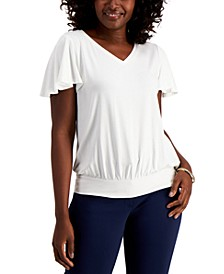 Petite Flutter-Sleeve Top, Created for Macy's