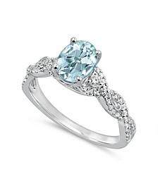 Aquamarine (1 1/4 ct. t.w.) & Diamond (1/4 ct. t.w.) Engagement Ring in 14k White Gold