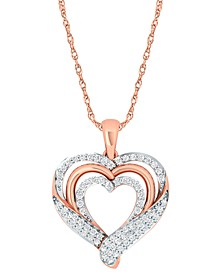 Diamond Wrapped Heart Pendant Necklace (1/2 ct. t.w.) in 14k Rose Gold-Plate Sterling Silver