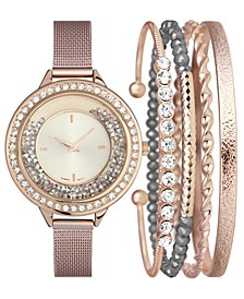 INC Women's Rose Gold-Tone Mesh Bracelet Watch 40mm & Bracelets Set, Created for Macy's