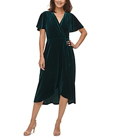 Velvet Flutter-Sleeve Wrap Dress