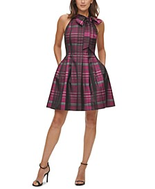 Satin Plaid Bow Fit & Flare Dress