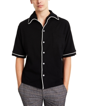 60s Men's Mod Fashion – American Style Collectif Mens Piped Short-Sleeve Shirt $70.00 AT vintagedancer.com