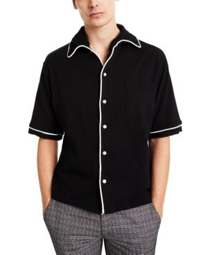 1960s Mens Shirts | 60s Mod Shirts, Hippie Shirts Collectif Mens Piped Short-Sleeve Shirt $70.00 AT vintagedancer.com