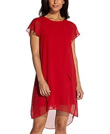 Chiffon Ruffle-Front Shift Dress