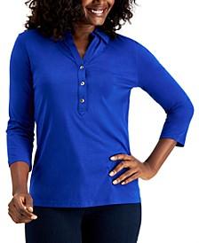 Supima® Cotton 3/4-Sleeve Polo, Created for Macy's