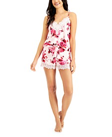 INC Floral-Print Lace-Trim Cami & Shorts Pajama Set, Created for Macy's