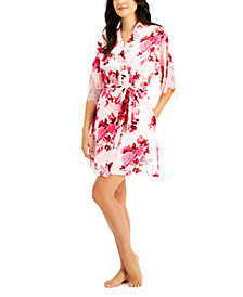 INC Lace-Trim Floral-Print Wrap Robe, Created for Macy's