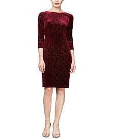 Velvet-Burnout 3/4-Sleeve Sheath Dress