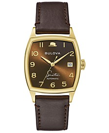 Men's Frank Sinatra Automatic Brown Leather Strap Watch 33.5x45mm