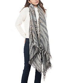 INC Zebra-Print Sequinned Blanket Wrap, Created for Macy's
