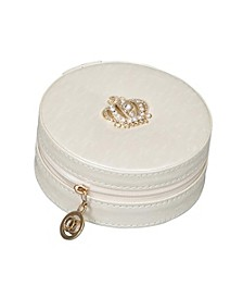 Mele Co. Elle Travel Jewelry Case in Patterned Cream Vegan Leather