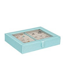 Mele Co. Camellia Glass Top Fashion Jewelry Box and Ring Case in Textured Sky Blue Vegan Leather