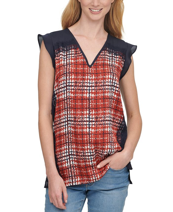 DKNY - Printed Lace-Trim Top