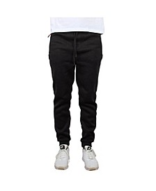 Men's Slim-Fit Marled Fleece Joggers with Zipper Side Pockets