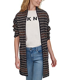 Striped Open-Front Longline Cardigan