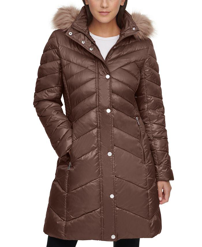 Kenneth Cole - Faux-Fur-Trim Hooded Puffer Coat