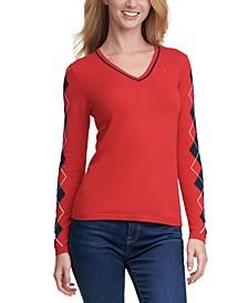 Ivy Rainbow Argyle V-Neck Sweater