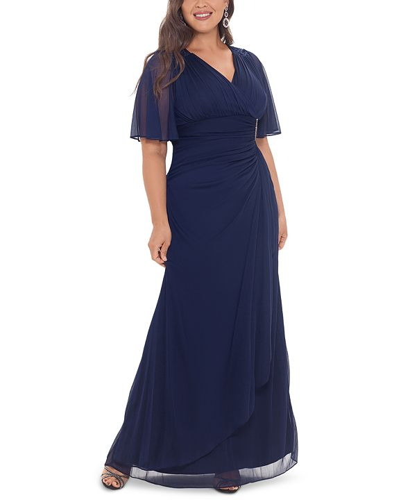Betsy & Adam Plus Size Embellished Flutter-Sleeve Gown