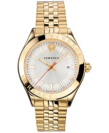 Men's Swiss Hellenyium Gold Ion Plated Stainless Steel Bracelet Watch 42mm