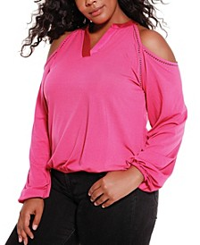 Black Label Women's Plus Size Studded Cold Shoulder Top