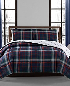 Holiday Plaid 3-Pc. Reversible Full/Queen Comforter Set, Created for Macy's