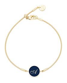 14K Gold Plated Wren Enamel Initial Bracelet