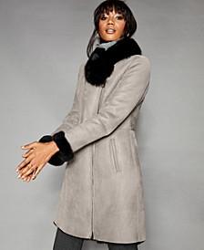 Shearling Lamb & Fox-Fur-Trim Coat