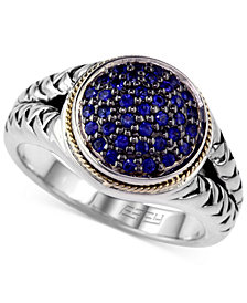 Balissima by EFFY Sapphire (3/8 ct. tw.) and Diamond (1/8 ct. t.w.) Rope Ring in Sterling Silver and 18k Gold