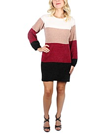 Juniors' Striped Chenille Sweater Dress