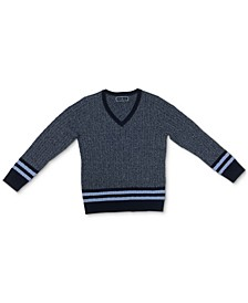 Striped Cable-Knit V-Neck Sweater, Created for Macy's