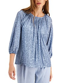 Sequined Tie-Neck Top, Created for Macy's