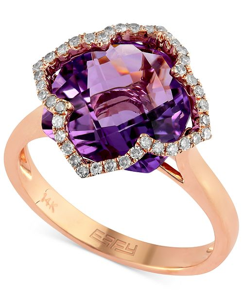 EFFY Collection Lavender Rosé by EFFY Amethyst (5-3/4 ct. t.w.) and Diamond (1/5 ct. t.w.) Clover Ring in 14k Rose Gold