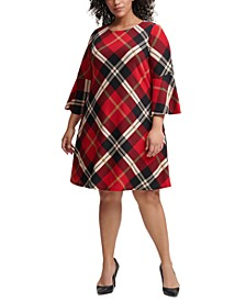 Plus Size Plaid Bell-Sleeve Sweater Dress